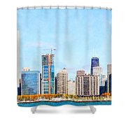 Chicago Illinois Skyline Painterly Triptych Plate Three Of Three 20180516 Shower Curtain