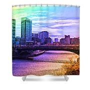Chicago In November Chicago River South Branch Pa Rainbow 02 Shower Curtain