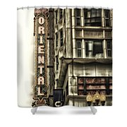 Chicago In November Oriental Theater Signage Vertical Shower Curtain
