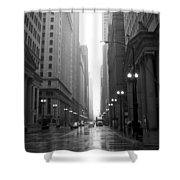 Chicago In The Rain 2 B-w Shower Curtain