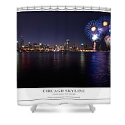 Chicago Lakefront Skyline Poster Shower Curtain
