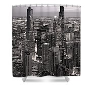 Chicago Loop Sundown B And W Shower Curtain