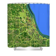 Chicago Map, Old Map, Abstract, Abstract Art, Blue, Blue And Purple Art Shower Curtain