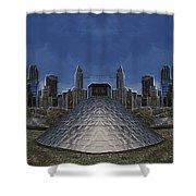 Chicago Millennium Park Bp Bridge Mirror Image Shower Curtain