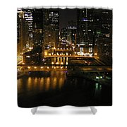 Chicago Night River Scene Shower Curtain