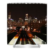 Chicago Night Sky Shower Curtain