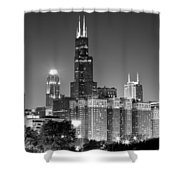 Chicago Night Skyline In Black And White Shower Curtain by Paul Velgos