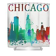 Chicago Paint Splatter Shower Curtain