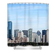 Chicago Panoramic Skyline High Resolution Picture Shower Curtain