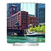 Chicago Parked By The Clark Street Bridge On The River Shower Curtain