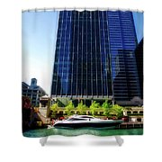 Chicago Parked On The River By 320 River Bar Shower Curtain