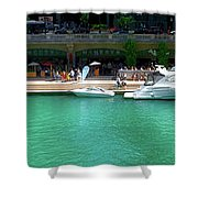 Chicago Parked On The River Walk Panorama 01 Shower Curtain