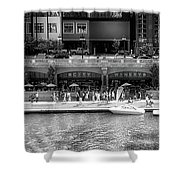 Chicago Parked On The River Walk Panorama 02 Bw Shower Curtain