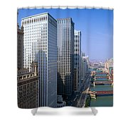 Chicago River, Aerial Shot, Illinois Shower Curtain