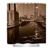 Chicago River B And W Shower Curtain
