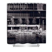Chicago River Boats Bw Shower Curtain