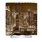 Chicago River City View B And W Shower Curtain