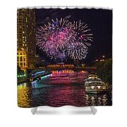 Chicago River Fireworks Shower Curtain