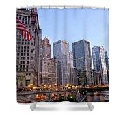 Chicago River From The Michigan Avenue Bridge Shower Curtain