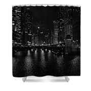 Chicago River Night Skyline Shower Curtain