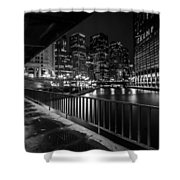Chicago River View In Black And White  Shower Curtain
