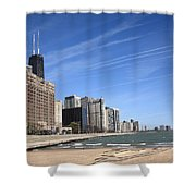 Chicago Skyline And Beach Shower Curtain