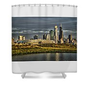 Chicago Skyline And Nature Preserve At Sunrise Shower Curtain