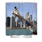 Chicago Skyline And Tall Ship Shower Curtain
