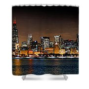 Chicago Skyline At Night Extra Wide Panorama Shower Curtain