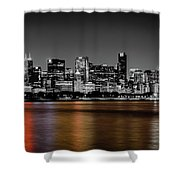 Chicago Skyline - Black And White With Color Reflection Shower Curtain