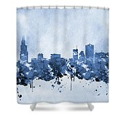 Chicago Skyline-blue 2 Shower Curtain