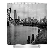 Chicago Skyline From The Southside In Black And White Shower Curtain