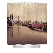 Chicago Skyline From The Southside With Red Bridge Shower Curtain