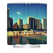 Chicago Summer Skyline At Oak Street Beach Shower Curtain