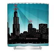 Chicago Skyline Shower Curtain by Sandra Hoefer
