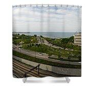 Chicago Skyline Showing Monroe Harbor Shower Curtain