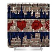 Chicago Sports Team Flag On Brick Shower Curtain