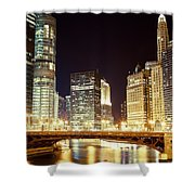 Chicago State Street Bridge At Night Shower Curtain