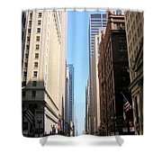 Chicago Street With Flags Shower Curtain