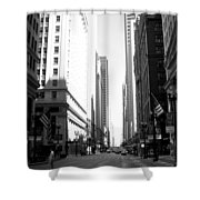 Chicago Street With Flags B-w Shower Curtain