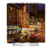 Chicago Theater At Night Shower Curtain