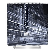 Chicago Theater Marquee B And W Shower Curtain