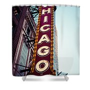 Chicago Theatre Marquee Sign Vintage Shower Curtain
