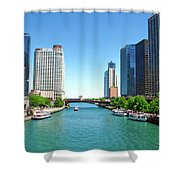 Chicago Tour Boats Parked On The River Shower Curtain