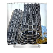 Chicago Twin Corn Cob Building  Shower Curtain