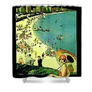 Chicago, Vacation City, Areal View On The Beach Shower Curtain
