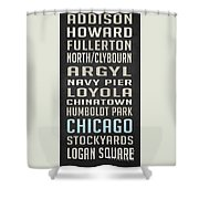 Chicago Vintage Subway Signs Shower Curtain