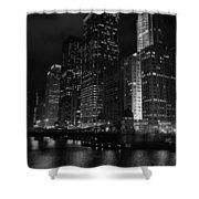 Chicago Wacker Drive Night Portrait Shower Curtain