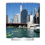 Chicago Watching The Kayaks On The River Shower Curtain