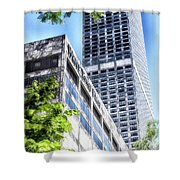 Chicago Water Tower Place Facade And Signage Shower Curtain